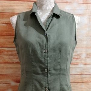 💯%Linen sleeveless Gap blouse. Size M